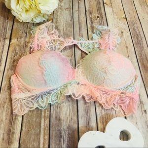Pink Victoria's Secret Lace Rainbow Bralette